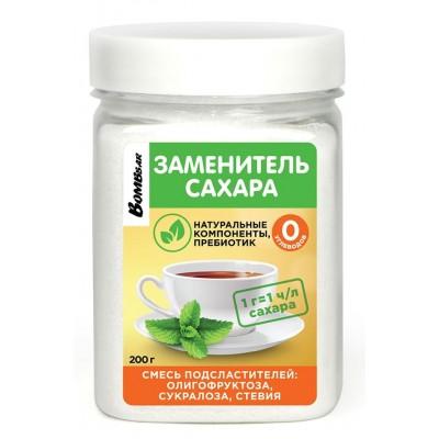 Сахарозаменитель Bombbar Олигофруктоза, сукралоза, стевия (200 гр)