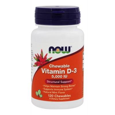 Витамин Д3Now Foods Vitamin D-3 5000 IU Chewable (120 жев. таб)