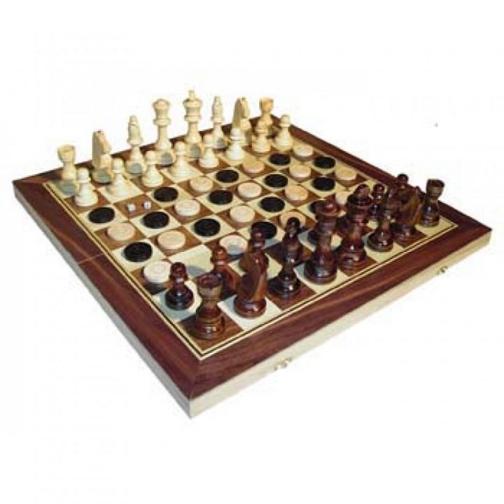 Шахматы+нарды деревянные 50/25