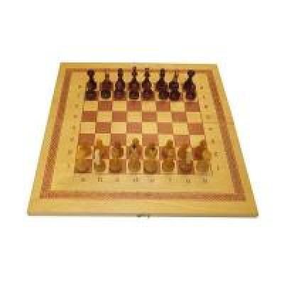 Игра 2 в 1 дерево: шашки, шахматы лакированные ES-0500