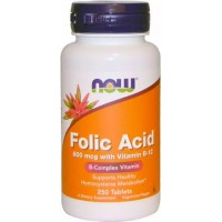 Фолиевая кислота с витамином Б12 NOW Folic Acid 800mcg with Vitamin B12