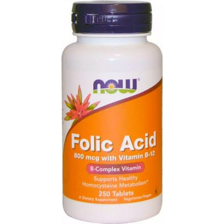 Фолиевая кислота Now Foods Folic Acid 800mcg with Vitamin B12 250 таб