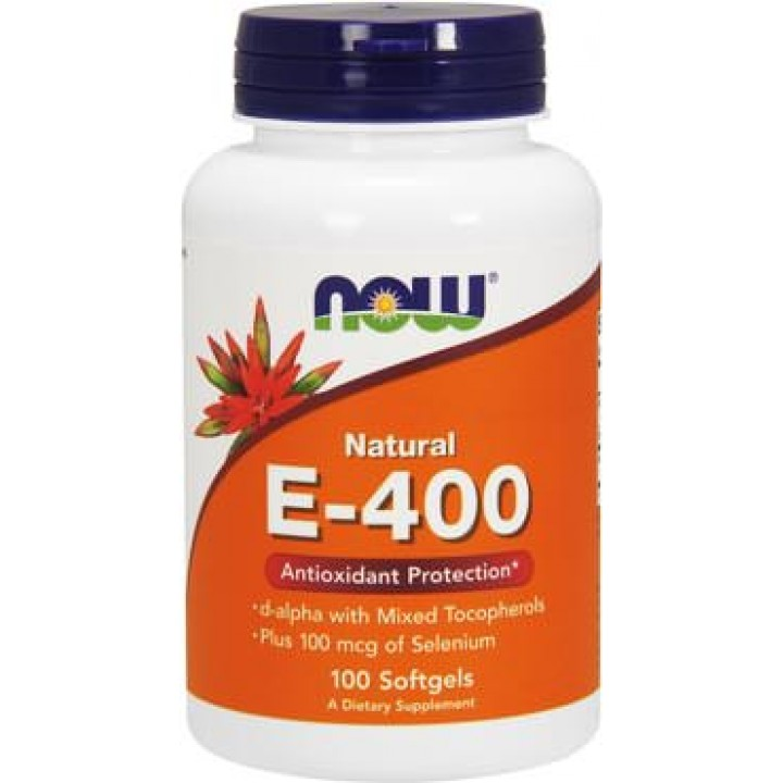 Витамин Е с селеном NOW Natural E-400 with Selenium