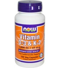 Витамины NOW Vitamin D-3 + K2 1000IU 45mcg