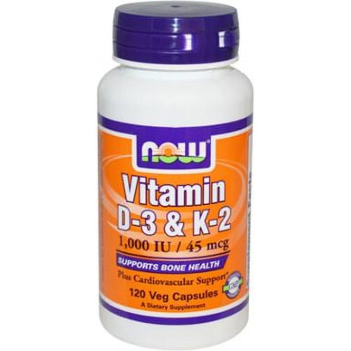 Витамины NOW Vitamin D-3 + K2 1000IU 45mcg