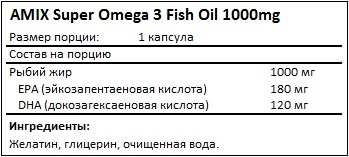 Состав Super Omega-3 Fish Oil 1000mg от AMIX