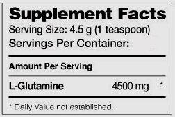 Состав Dymatize Glutamine Micronized 500 г