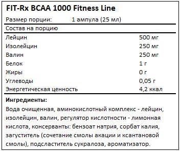 Состав BCAA 1000 от FIT-Rx