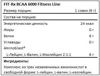 Состав BCAA 6000 Fitness Line от FIT-Rx