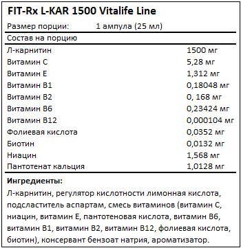 Состав L-KAR 1500 от FIT-Rx
