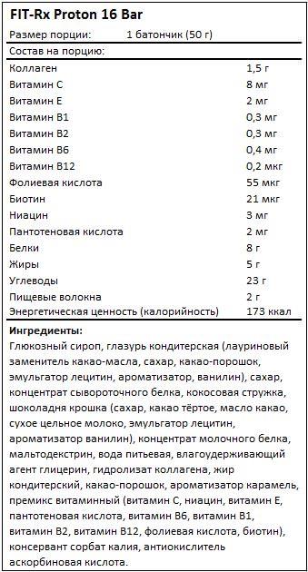 Состав Proton 16 Bar от FIT-Rx
