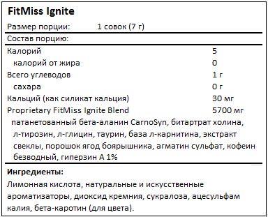 Состав Ignite от FitMiss