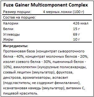 Состав Gainer Multicomponent Complex от Fuze