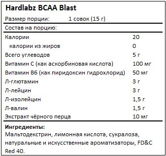 Состав BCAA Blast от Hardlabz
