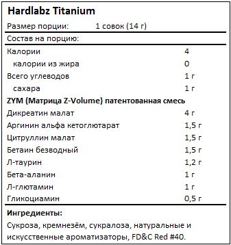 Состав Titanium от Hardlabz
