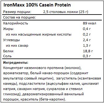 Состав 100% Casein Protein от IronMaxx