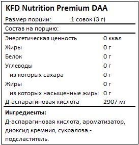 Состав Premium DAA от KFD Nutrition