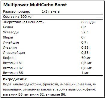Состав MultiCarbo Boost от Multipower
