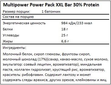 Состав Power Pack XXL Bar 30% Protein