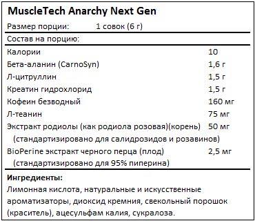 Состав Anarchy Next Gen от MuscleTech