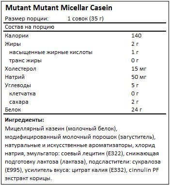 Состав Mutant Micellar Casein от Mutant