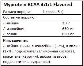 Состав ВСАА 4-1-1 Flavored от Myprotein