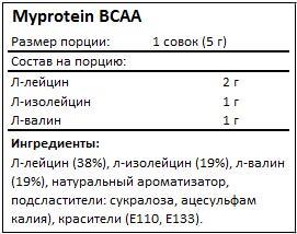 Состав ВСАА от Myprotein