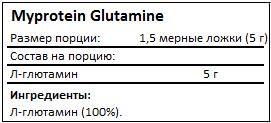 Состав Glutamine от Myprotein