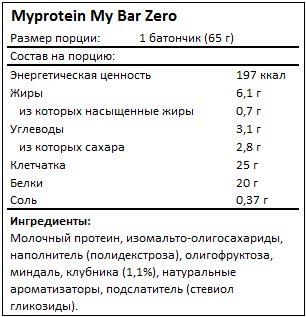 Состав My Bar Zero от Myprotein