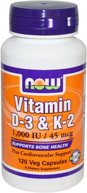 Витамины NOW Vitamin D-3 + K-2 1000IU 45mcg