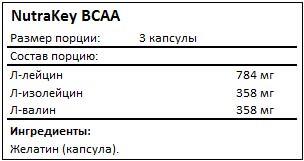 Состав BCAA от NutraKey