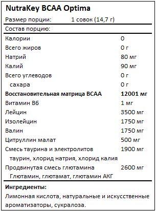 Состав ВСАА Optima от NutraKey
