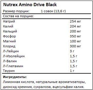 Состав Amino Drive Black от Nutrex