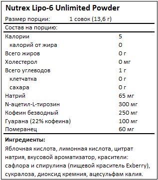 Состав Lipo-6 Unlimited Powder от Nutrex