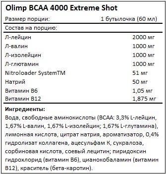 Состав BCAA 4000 Extreme Shot от Olimp