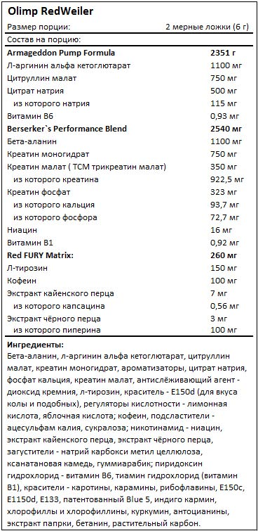 Состав RedWeiler от Olimp