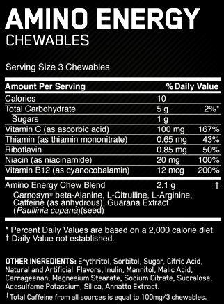 Состав Essential Amino Energy Chewables