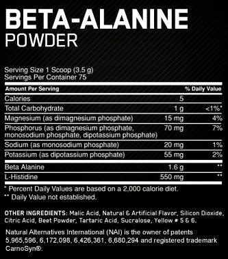 Состав Beta-Alanine Powder от Optimum Nutrition
