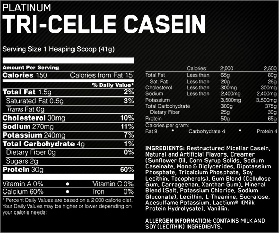 Состав Platinum Tri-Celle Casein