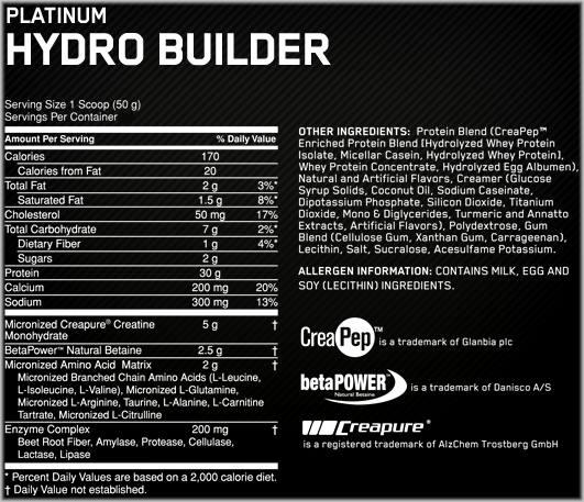 Состав Platinum Hydro Builder