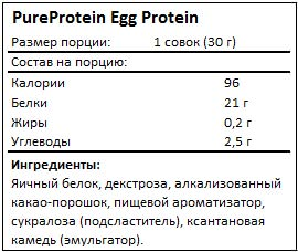 Состав Egg Protein от PureProtein