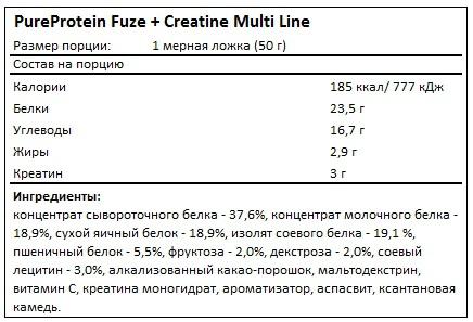 Состав Fuze + Creatine Multi Line от PureProtein