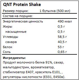 Состав протеинового напитка Protein Shake от QNT