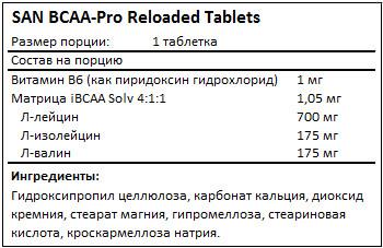 Состав BCAA-Pro Reloaded от SAN