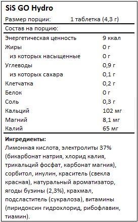 Состав GO Hydro от SiS