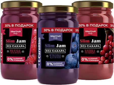 Бескалорийные джемы Slim Jam + L-Carnitine от Slim Fruit