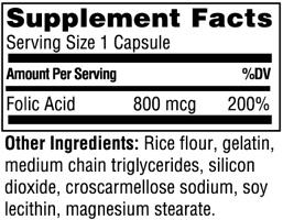 Состав Folic Acid Caps от Twinlab