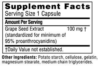 Состав Grape Seed Extract 100 мг от Twinlab