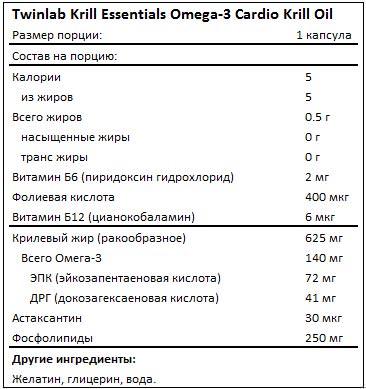 Состав Krill Essentials Omega-3 Cardio Krill Oil от Twinlab