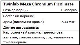 Состав Mega Chromium Picolinate от Twinlab